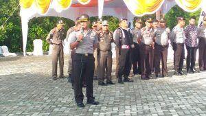 Kapolres Kampar Pimpim Apel Gabungan Pengamanan KPUD Kampar