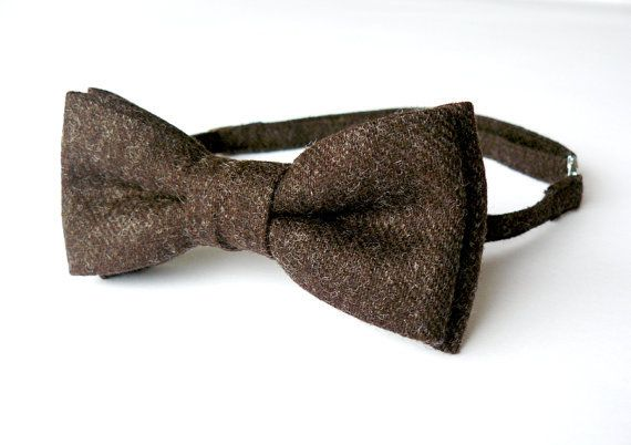 Mens bow tie freestyle groom wedding hipster classic retro necktie chic handmade gift for him by Bartek Design - Dark Brown Chocolate Wool on Wanelo