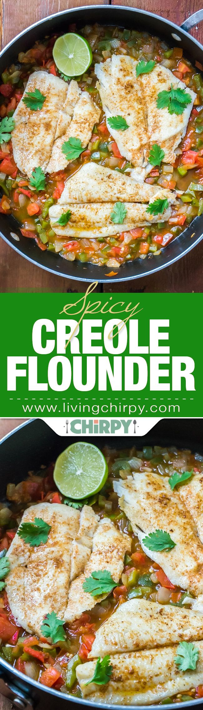 Spicy Creole Flounder, a quick, easy and tasteful way to prepare fish. Served with a warm tomato and green pepper salsa. A light and healthy low-carb dish.