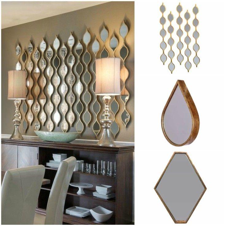 Διακόσμηση τοίχου με συνδυασμό καθρεπτών