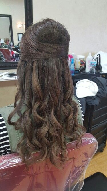 Long curled half up half down wedding hair