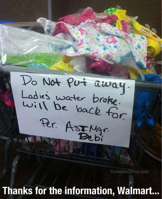 Water broke in Walmart