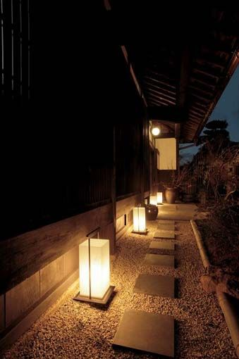 Japanese garden lighting- For the walkway along the side of the house