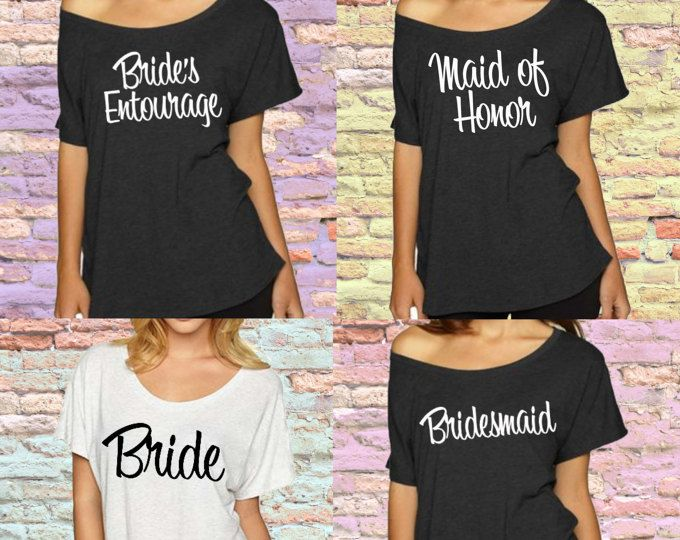 Slouchy off shoulder Bridesmaid t-shirt. XS-2XL Before The
