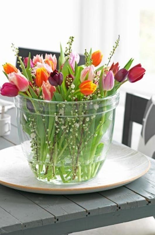 spring tulips glass vase