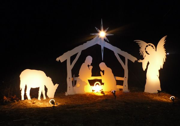 Lighted outdoor christmas nativity scene woodworking for 30 lighted nativity christmas window silhouette decoration