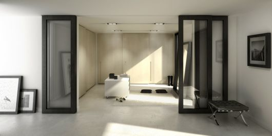 Saves space by using Japanese style sliding doors