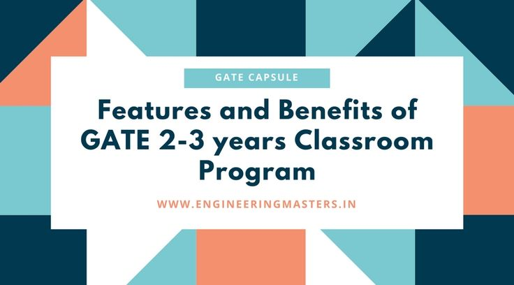 The role of a classroom program is to strengthen the basics of a student. If you are looking for a live interaction with GATE Toppers and experts to guide you and assist you in GATE Preparation, then Classroom is an ideal program for you.  http://engineeringmasters.in/GATE-2-3-Year-Classroom-Program