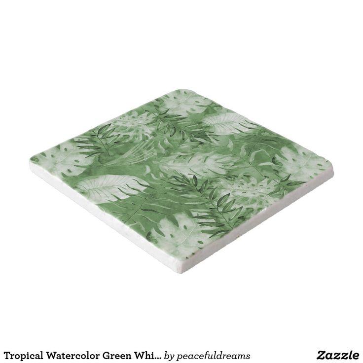Tropical Watercolor Green White Leaves Trivet