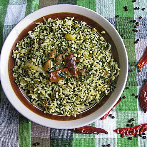 Indian Style Spinach Rice Recipe | Keerai Sadam | Healthy and Vegan Rice made with spinach | Lunch Box Ideas