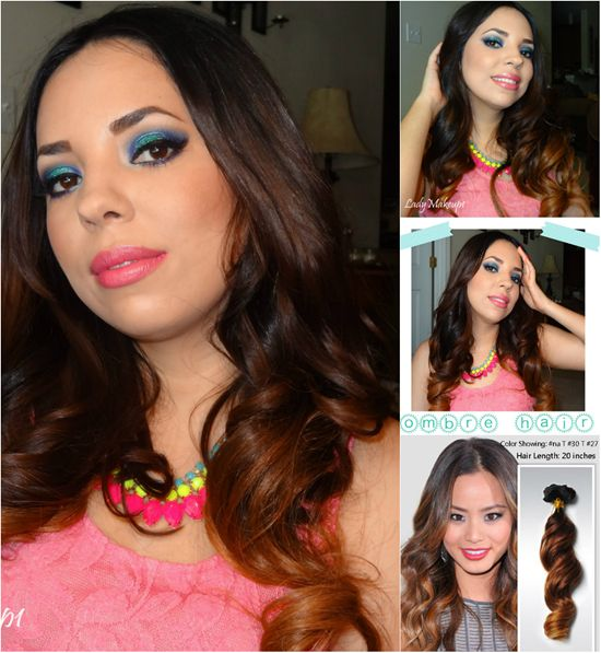 meidum ombre brown color hair with cheap 18 inch hair extensions