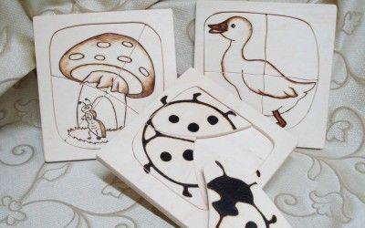 puzzle per bambini in legno! disegno inciso a pirografia!