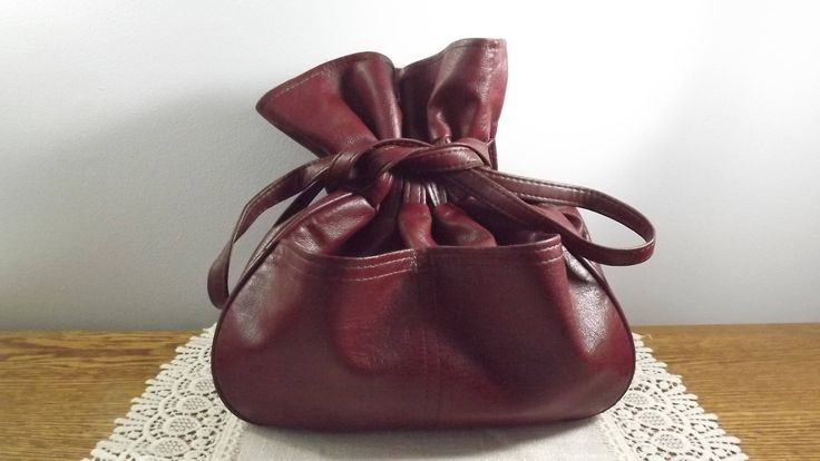 Vintage Faux Leather Cinch Bag from Korea, Practical Pouch for Toting around Your Stuff by OutrageousVintagious on Etsy