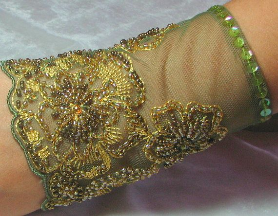 OOAK Hand Beaded Lace Cuff in Olive Green and Gold