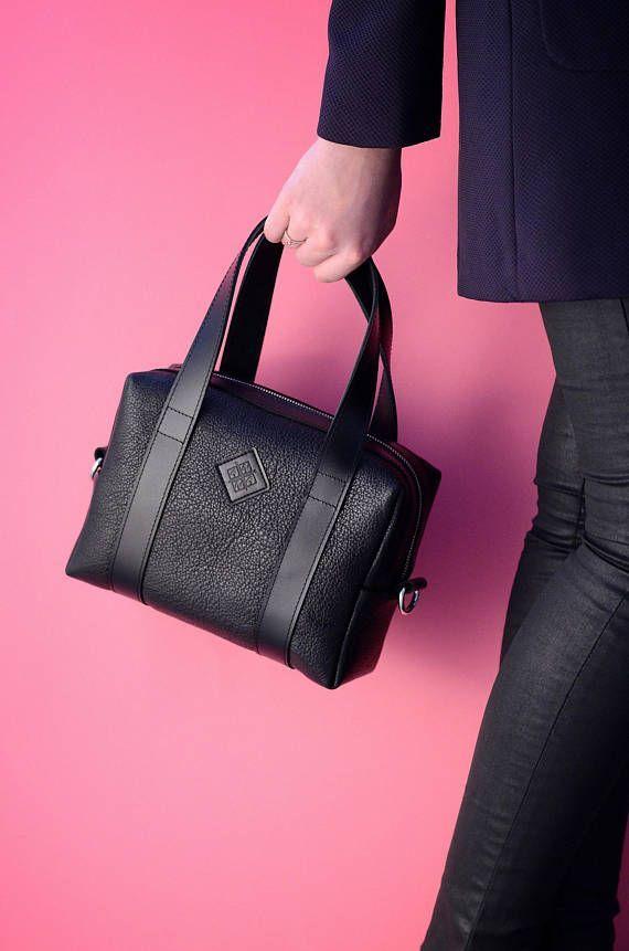 Handmade Leather Handbag Mini bag Black Leather Handbag #handbags