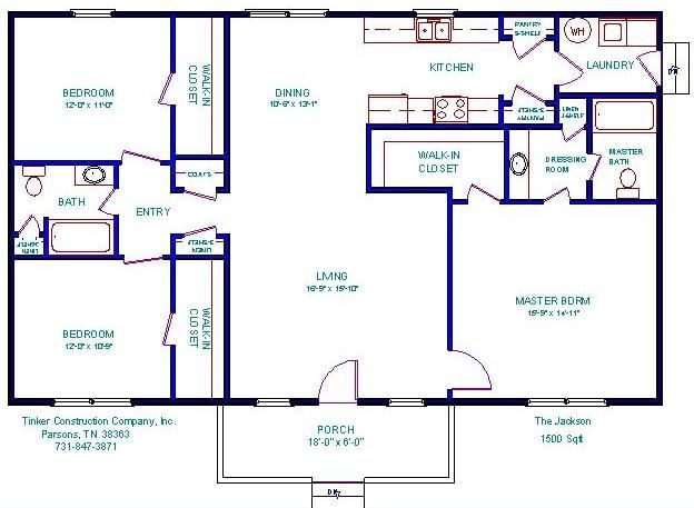 Open floor plans under 1500 floorplan house plans for Home designs 1500 sq ft