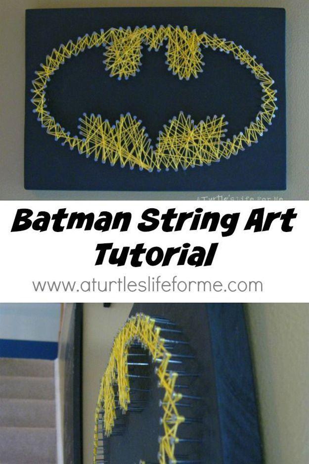 How to Make Cool Batman DIY String Art | http://diyready.com/12-easy-diy-string-art-ideas-to-hang-in-your-home/
