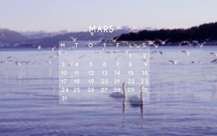 Desktop calendar for March! Mars kalender