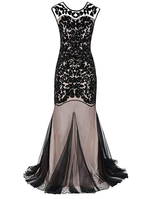 16cb5cc3eeb Amazon.com  kayamiya Women s 1920s Beaded Sequin Floral Maxi Long Gatsby  Flapper Prom Dress