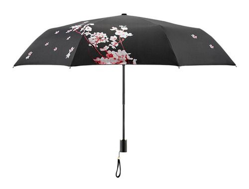 Cherry Blossom Sun Parasol Rain Umbrella - Black