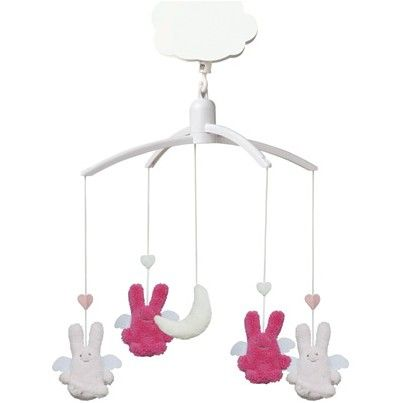 TROUSSELIER - Mobile Musical ange lapin Rose fuschia