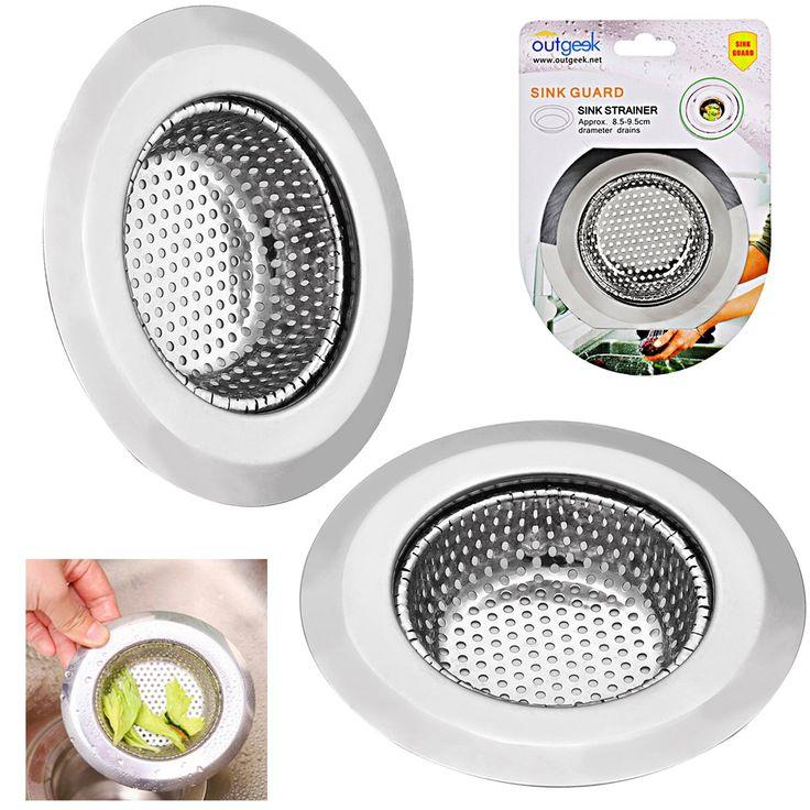 Outgeek Sink Strainer 2-Pack Kitchen Sink Strainer Bathroom Sink Strainer with Smooth Rim