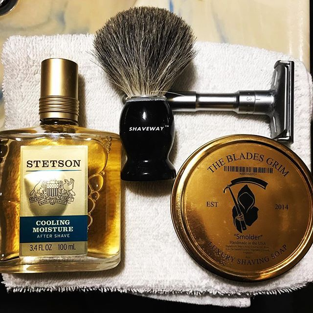 Shave Of The Day The Blades Grim Soap Shaveway Badger Hair Brush Qshave Adjustable Double Edge Razor And Finished With St Shaving Wet Shaving Shaving Soap
