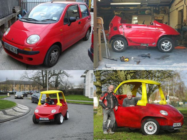 John Bitmead, a 48-year old mechanic from Oxfordshire, UK, may just have redefined the meaning of Throwback, albeit with an adult twist. He, his brother, Geoff, and their buddy, Nigel Douglas, did five months work converting a Daewoo Matiz into an adult-sized, street-legal Little Tikes Cozy Coupe. You remember that cool little car that every […]