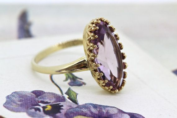 Vintage Amethyst Engagement Ring | Dainty Crown Ring | Yellow Gold Cocktail Ring | Victorian Inspired Ring | February Gemstone Ring | Size 5