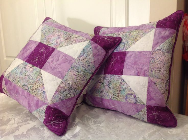 Quilted cushions with free motion embroidery