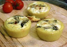 Cestini di polenta ripieni di funghi e formaggi