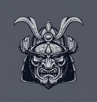 samourai: Masque de samouraï. version monochrome. Masque martial traditionnel japonais. Vecteur EPS 10 illustration.