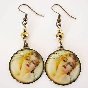 Jean Harlow Screen Goddess 1930's Picture Earrings in Antique Gold Plate - Missie77art Jewellery on ebay
