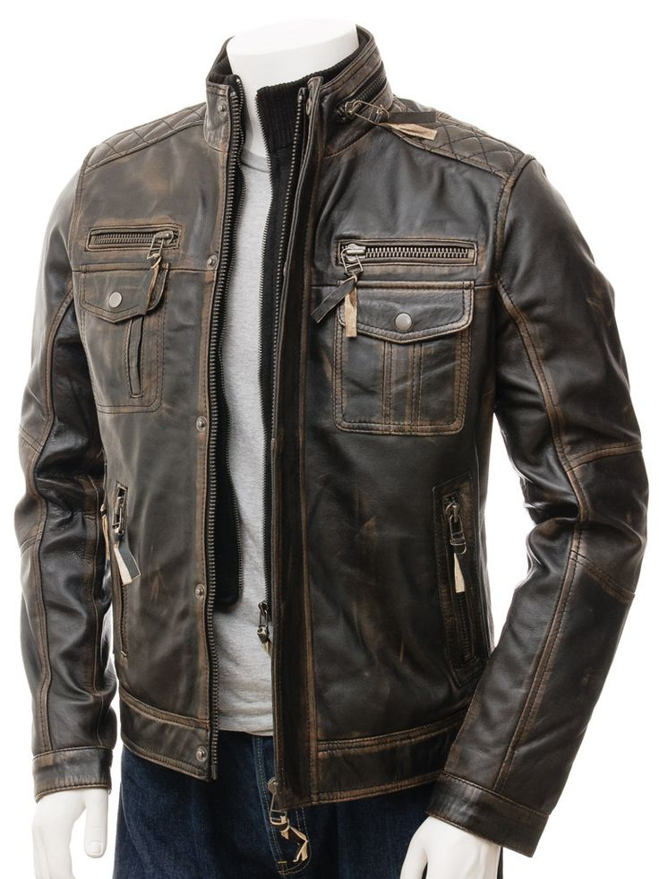 Men Leather Jacket Brown Broadhembury Cafe racer leather