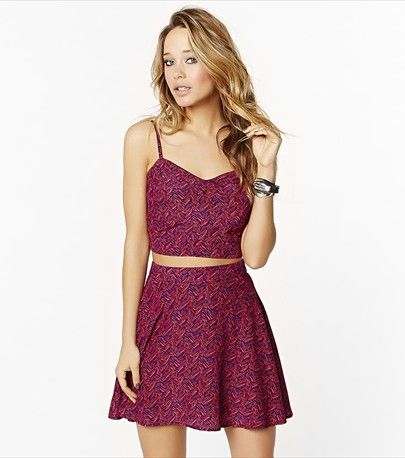 This printed bustier and skirt are perfect partners!