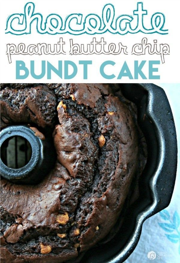 Chocolate Peanut Butter Chip Bundt Cake | Using a cake mix, instant pudding and a few other ingredients, makes this bundt cake the best cake recipe ever! Click the photo for the recipe!