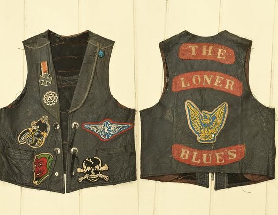 1950s Motorcycle Vest The Loner Blues Mc Club Black Leather Vest Easyrider Vintagepatch 1950sbiker Mcclub Black Leather Vest Motorcycle Vest Leather Vest