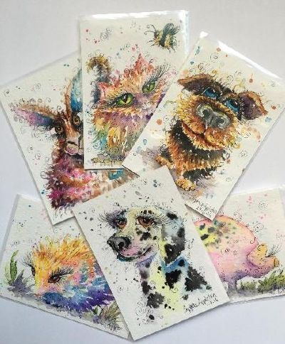 """On the 'gallery ACEO' page of www.sixfootsophie.co.uk ACEO hand painted artist trading cards for collectors by Sophie Appleton (miniature painting 3.5""""x2.5"""")"""