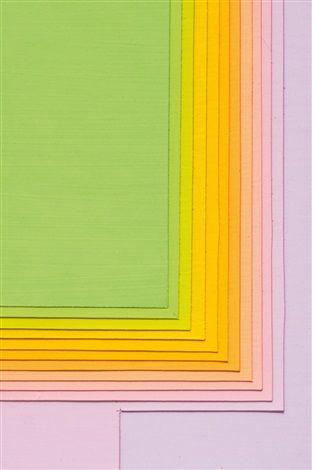Color Sound - lila/orange/grün by Karl GerstnerArtist: Karl Gerstner (Swiss, born 1930) Title: Color Sound - lila/orange/grün , 1973 Medium: collage of gouache on cardboard laid on cardboard Size: 42.5 x 42.5 cm. (16.7 x 16.7 in.)