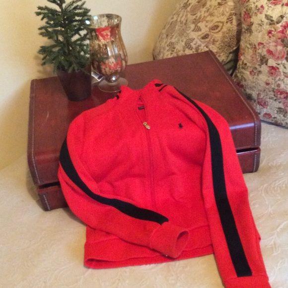 Polo jacket Orange with black striped polo jacket hardly worn definitely like brand-new Polo by Ralph Lauren Jackets & Coats