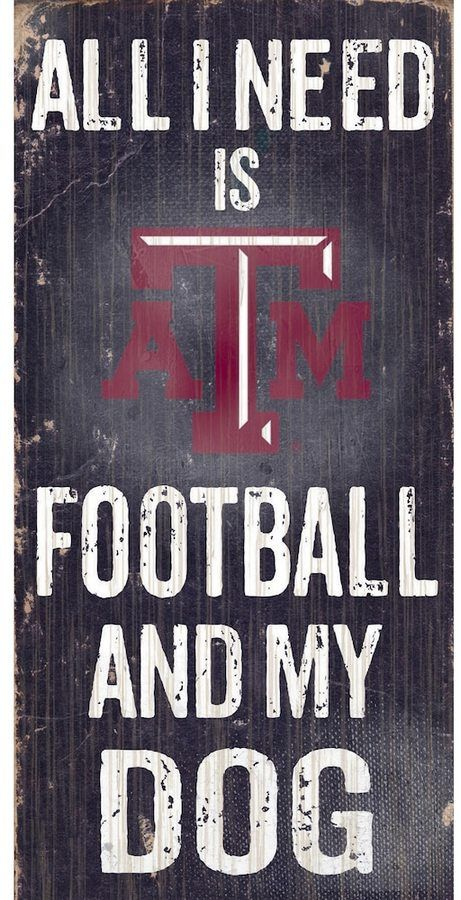 "$14 - NCAA Texas A&M Aggies Football & My Dog Sign - Dog and football lovers rejoice, this Texas A&M Aggies sign combines the best of both worlds. ""All I Need is Football and My Dog"" text Painted in team colors Distressed look 12"" x 6"" MDF wood Wipe clean Imported Shop our full assortment of Texas A&M Aggies items here. When you're a fan, you're family! Size: One Size. Color: Multicolor."