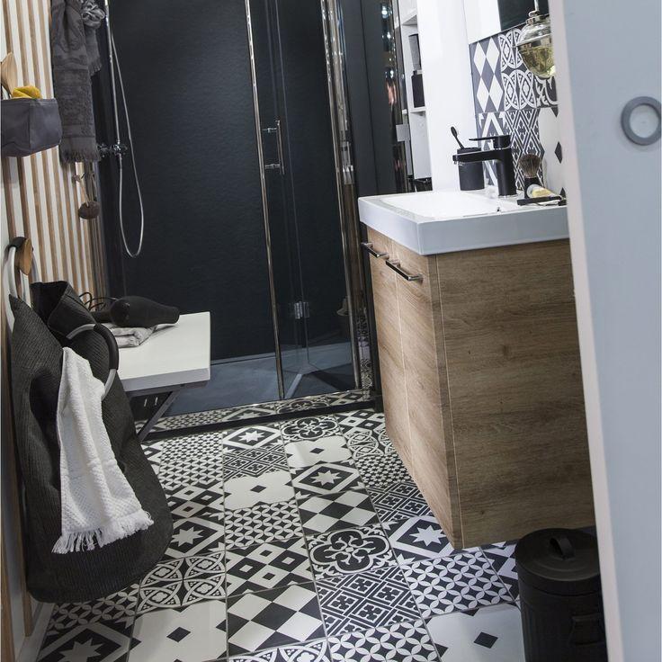 Carrelage intérieur Gatsby ARTENS en grès, noir et blanc, 20 x 20 cm ...