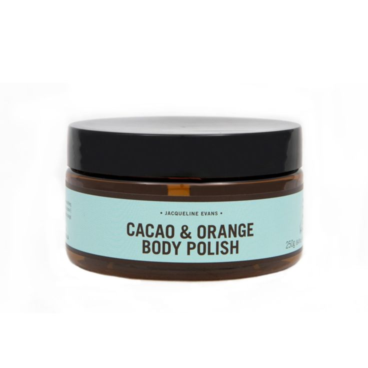 Made from cacao, walnut, arabica coffee and moisturizing orange oils, Jacqueline Evans' newest scrub is just on the luxurious side of sensible.    http://sorrythanksiloveyou.com/products/view/cacao-and-orange-body-polish-jacqueline-evans
