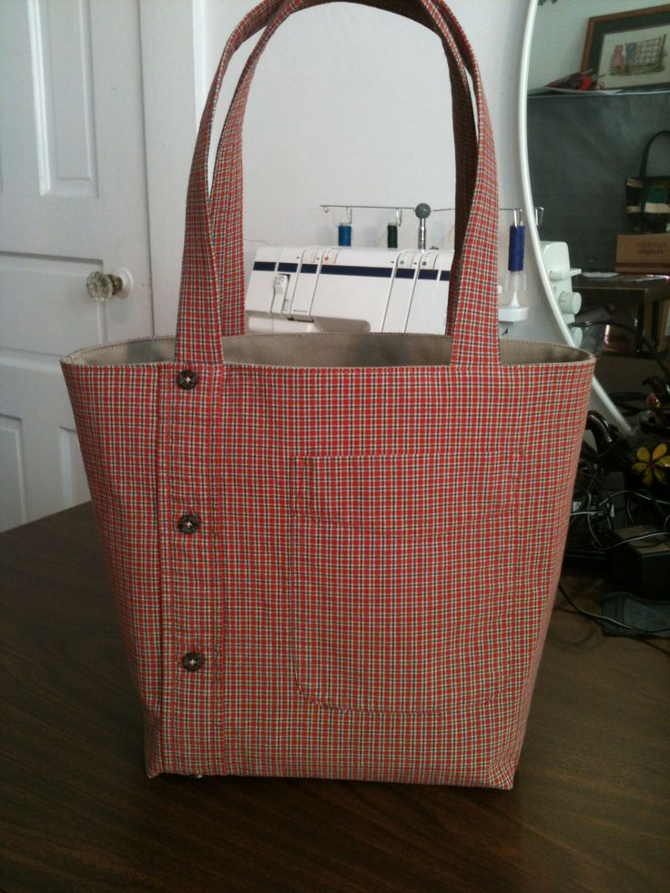 Tote bag from men's shirt