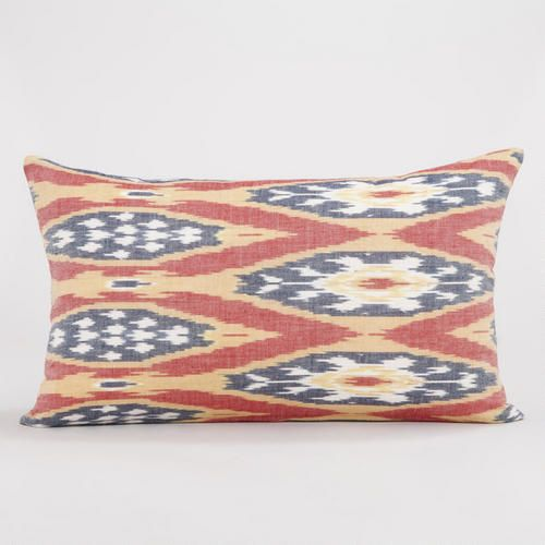 Red, White, Blue and Gold Ikat Lumbar Throw Pillow
