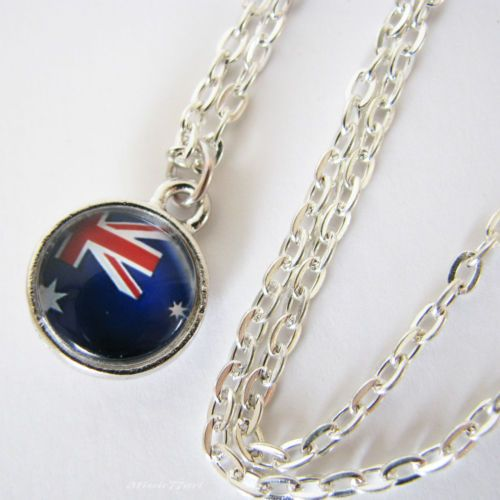 Australian Flag Australia Day Glass Cameo Necklace - Silver Plated - Missie77art Jewellery on ebay