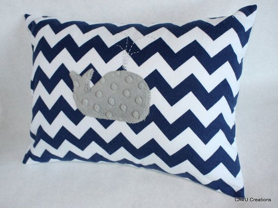 Navy & Gray Whale Nursery Pillow Cover - Navy Chevron Flannel, Gray Minky -12x16 Pillow Cover for Baby - Nautical, Unisex - READY TO SHIP on Etsy, $27.50
