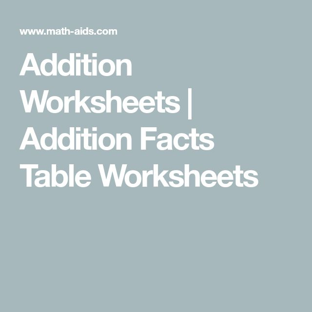 Addition Worksheets   Addition Facts Table Worksheets