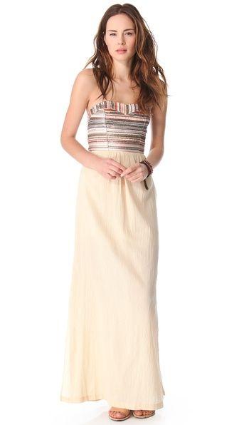 Love Sam Embroidered Stripe Gauze Maxi Dress at @Shopbop