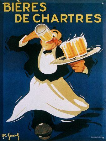 C'est une publicité pour de la bière de Chartres de 1850. On voit un serveur qui boit de la bière tenant un plateau avec des verres de bière. ( maryelle.s )